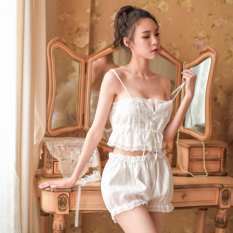 New   Nightgown   curious Miss retro   Sleepshirts   palace wind strap wrapped chest   Nightgown   women breathable cotton sexy temptation s