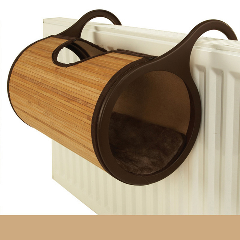 Natural Bamboo Radiator Cat Bed Cat Tunnel House Hanging Wall Pet Mat Habitat Cat Scratch Board Toys Soft Kitty Hanging Beds