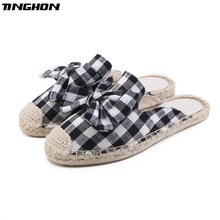 TINGHON Fashion Women Ladies Espadrille Shoes Canvas lattice bow-knot Hemps Fisherman Flats