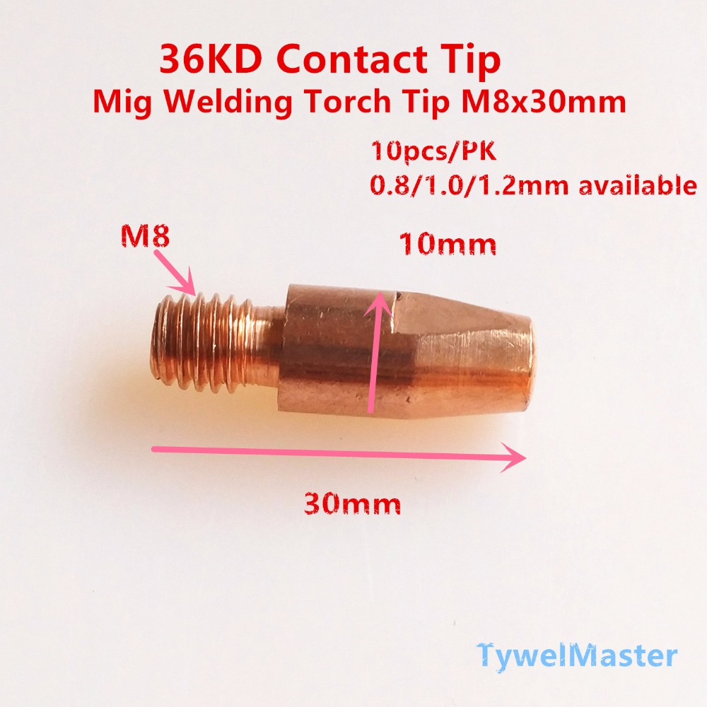 36KD Contact Tip MIG Torch Gun Consumables 0.8mm 1.0mm 1.2mm 10pcs Available For M8x30mm 36KD 26KD 401D Mig Gun For MIG Welding
