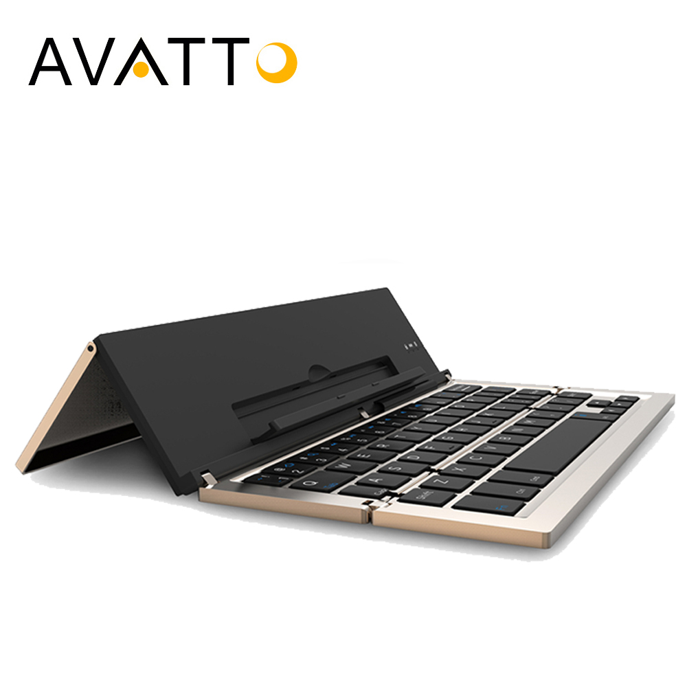 цена на [AVATTO] Aluminum Travel Bluetooth Folding mini Keyboard BT Wireless Foldable Keypad For IOS,Samsung,Windows Phone Ipad Tablet