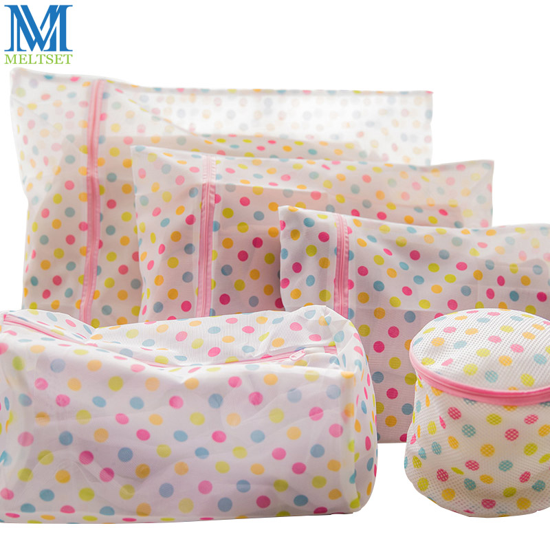 1PC Clothes Washing Machine Laundry Bag With Zipper Nylon Mesh Net Bra Washing Bag 5 Sizes