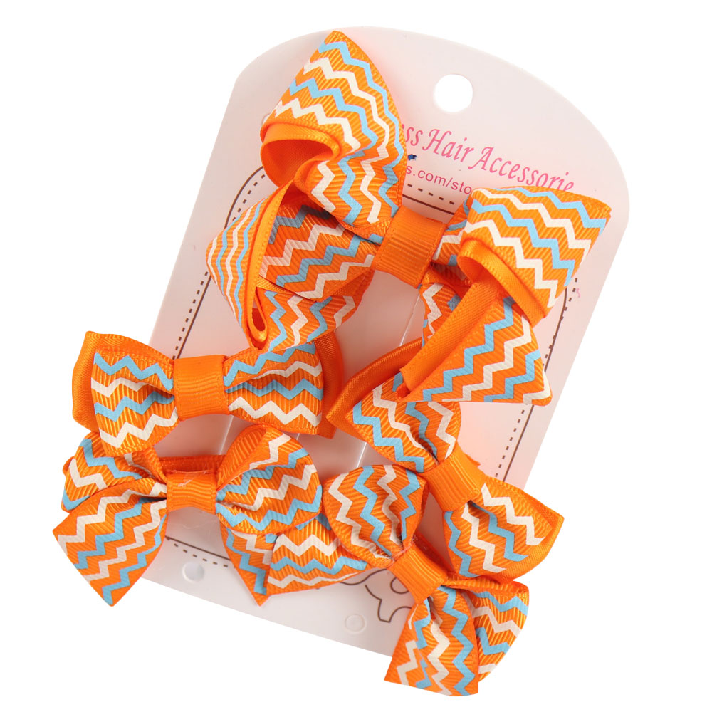 5 Pieces/Set Girls Hair Bow With Clips Kids Hairpins Hairbows Boutique Chevron Ribbon Bowknot Hairgrips Hair Accessories rechargeable hair clipper with accessories set 220 240v ac