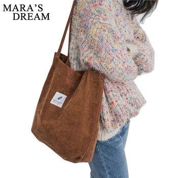 Mara's Dream High Capacity Women Corduroy Tote Ladies Casual Solid Color Shoulder Bag Foldable Reusable Women Shopping Beach Bag