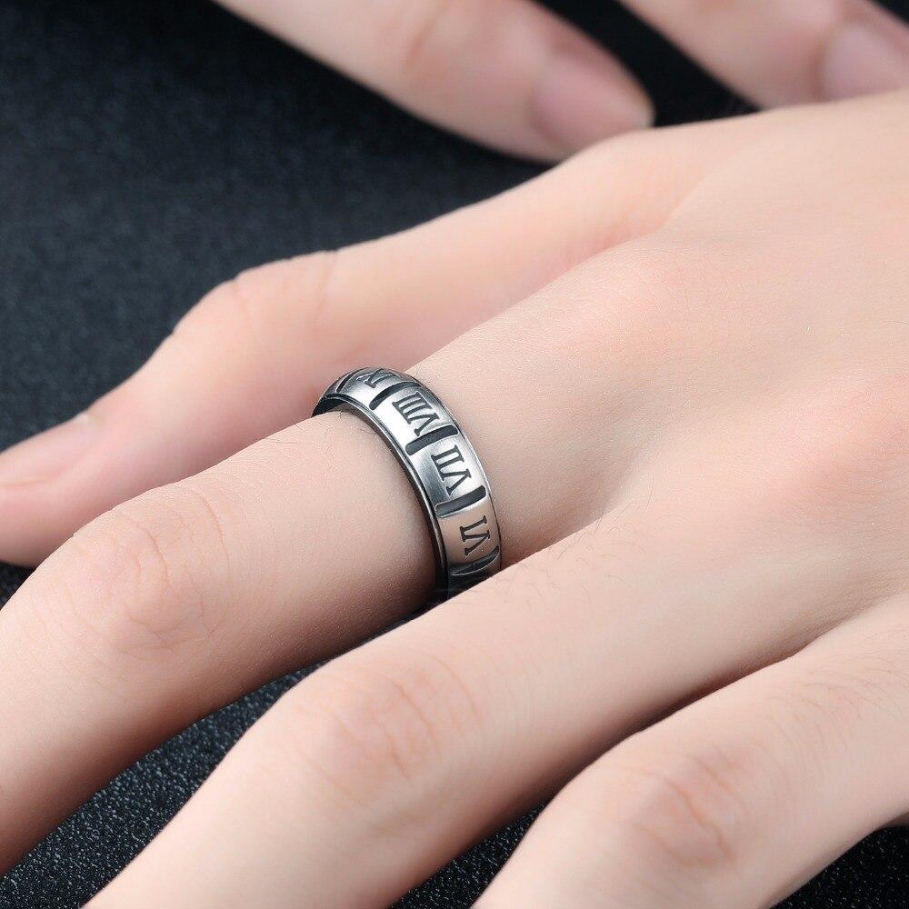 Fashion Jewelry black Roman Numeral Titanium Steel Men\'s Ring Male ...
