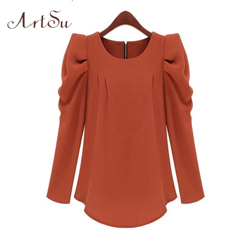 ArtSu Summer OL Women   Blouse     Shirt   Top Puff Long sleeve Red   Blouse   Black Pink Blusa Feminina preta Work Wear camisa larga 889