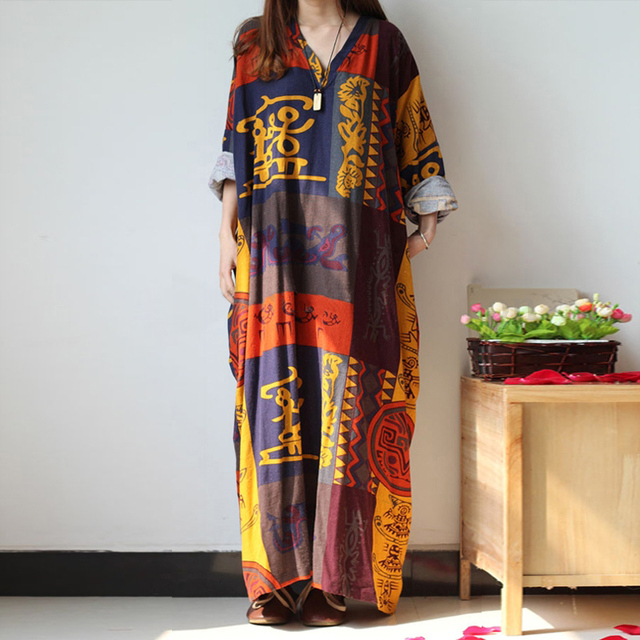 c81e6bd3e18bc Fashion Beach Casual Women Plus Long Sleeve Loose Baggy Kaftan Long Maxi  Dress 2018 new