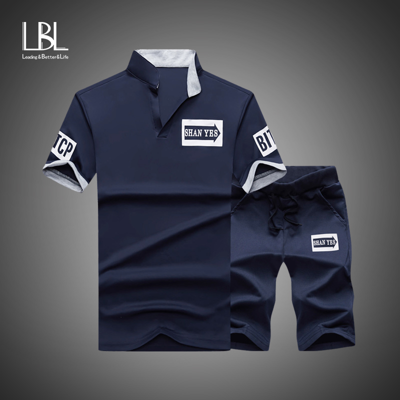 Men Tracksuits 2019 Summer Short Sleeve Tee Shirt+Shorts Set Casaul Slim Fit Sporting Suit Mens Masculino Two Pieces Sets Hombre