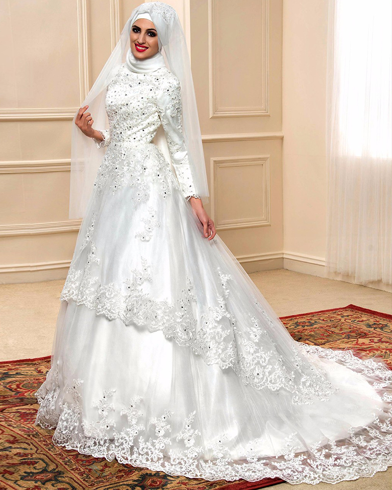 Exquisite Wedding Gowns: Custom Made Beading Crystal Appliques Tiered Muslim