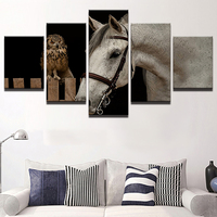 Canvas HD Printed Oil Painting Wall Art Room Home Decor No Framed 5 Panel Animal White