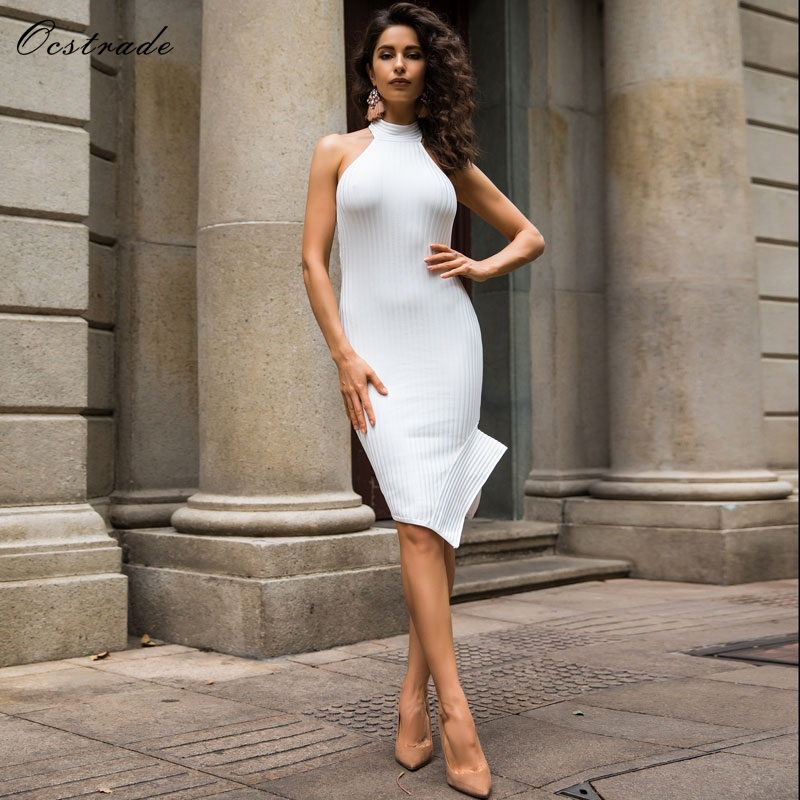 Ocstrade White Bandage Dress 2018 New Arrivals Women Backless Halter Party Dress Bodycon Sexy White Vestidos Bandage Rayon Dress guess new white illusion panel halter dress msrp $129 dbfl