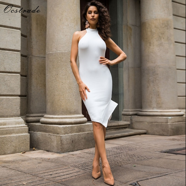 Ocstrade White Bandage Dress 2018 New Arrivals Women Backless Halter Party Dress Bodycon Sexy White Vestidos Bandage Rayon Dress