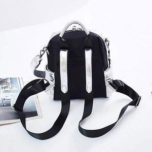 Image 5 - NIGEDU Glitter sırt çantası kadın omuzdan askili çanta çok fonksiyonlu gençler için sırt çantaları kızlar Schoolbag kadın sırt çantası seyahat çantası gümüş