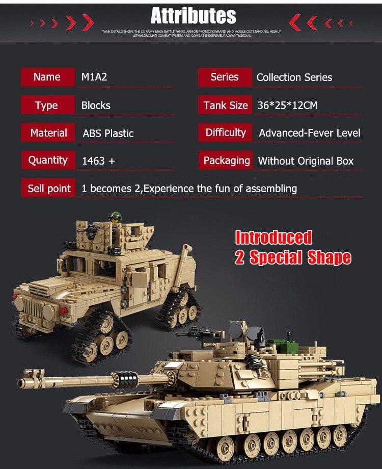 Kazi Military M1A2 Collection Tank Série Trans jouets 1:28 ABRAMS - Concepteurs et jouets de construction - Photo 6