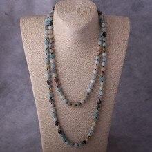 Fashion Artisan Jewelry 150cm Long knotted Halsband Amazonite Stones Women Beaded Designer Necklaces
