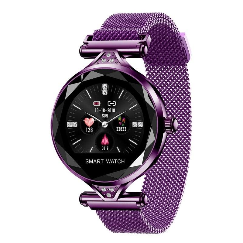 H1 femmes mode Smartwatch dispositif portable Bluetooth podomètre moniteur de fréquence cardiaque montre intelligente pour Android/Ios Bracelet intelligent (#8