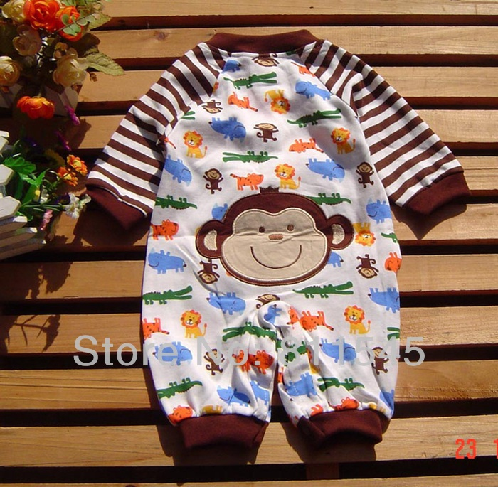 Cute Panda Monkey Cartoon Infant Boy Romper Overall Jumper Spring 2015 Newborn Baby Wear Bebe Clothing Toddler Clothes