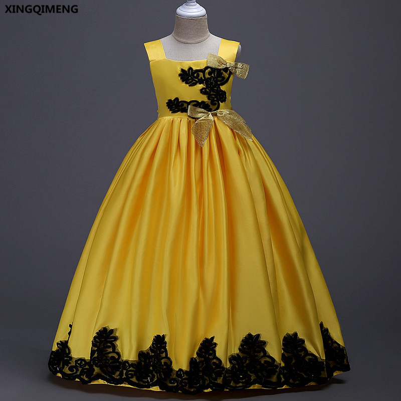In stock yellow flower girl dresses ball gown satin 6 16y first holy in stock yellow flower girl dresses ball gown satin 6 16y first holy communion dresses for girls bow appliques vestido daminha mightylinksfo