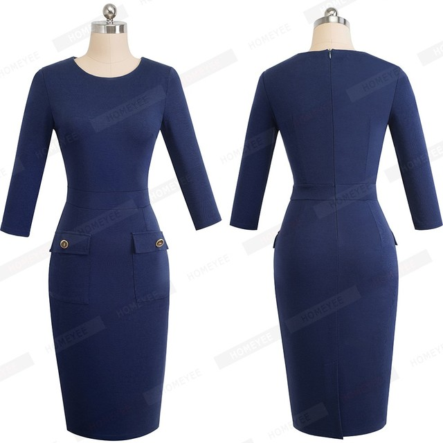 Autumn Female Buttons Solid Color Slim Office Work Dress Classic Women O-Neck Casual Business Pencil Dress EB465 2