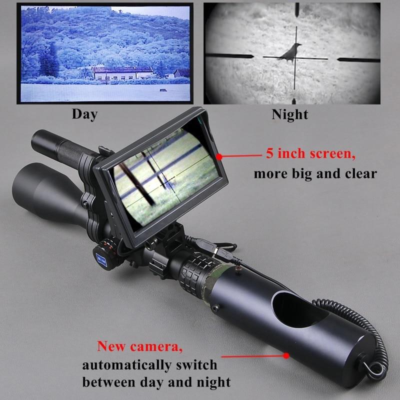 Visión Nocturna Riflescope al aire libre caza óptica vista táctico infrarrojo Digital con Monitor de batería y linterna