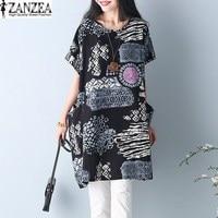 New Arrival 2017 ZANZEA Women Summer Short Sleeve Floral Print Pockets Tunic Baggy Loose Kaftan Long