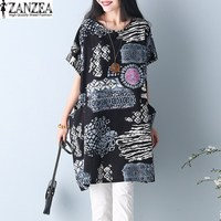 New Arrival 2017 ZANZEA Women Summer Short Sleeve Floral Print Pockets Tunic Baggy Loose Kaftan Long