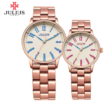 New Julius Men's Women's Wrist Watch Quartz Hours Best Fashion Dress Business Bracelet Stainless Steel Lover's Couple Gift 859