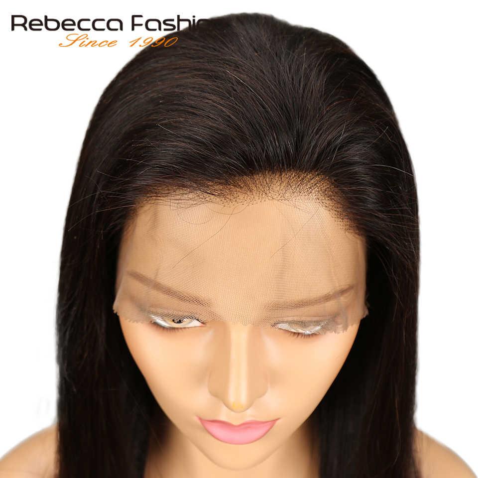 Rebecca 360 Kant Frontale Pruik Pre Geplukt Peruaanse Straight Remy Menselijk Haar 360 Lace Pruiken Voor Zwarte Vrouwen Natuurlijke Kleur gratis Schip