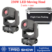 Zoom Moving Head 2pcs 230W LED Beam Spot Lighting with Flight case packing for stage disco dj