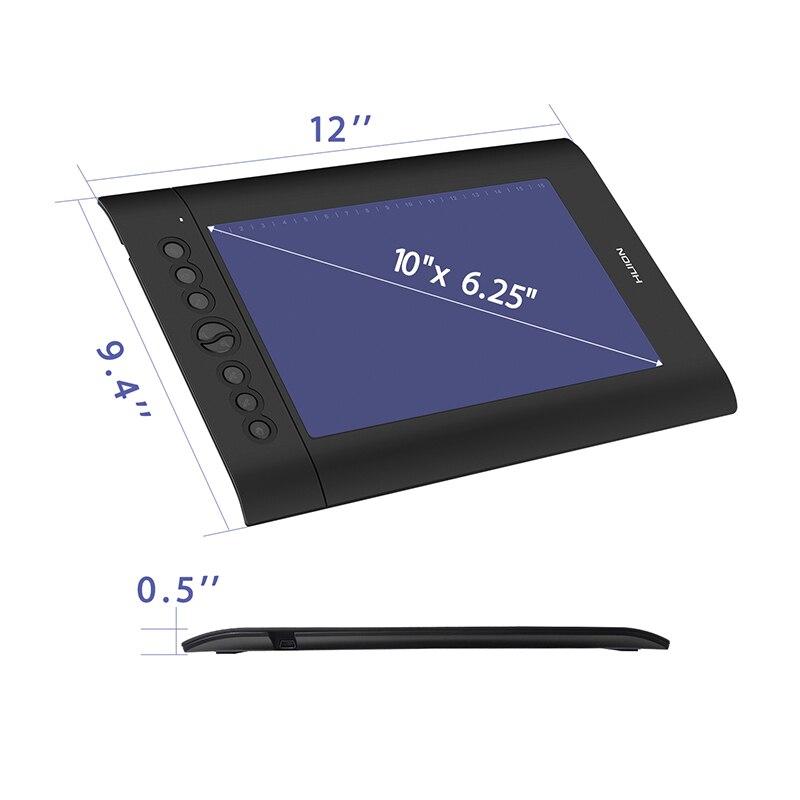 HUION H610 Pro V2 10X6. 25in Graphique Dessin Tablet Pen Numérique Peinture Comprimés avec Tilt Fonction Pâte-livraison et touches Express - 2