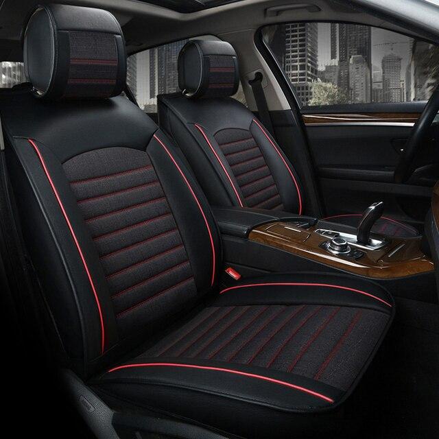 universele lederen automobiles stoelhoezen ademend linnen stof auto bekleding interieur accessoires