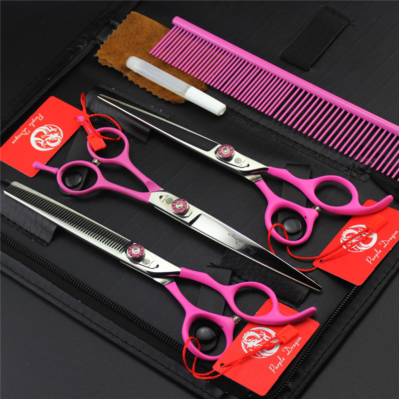 Purple Dragon 7 Inch Professional Dog Cat Pet Grooming Scissors Pets Pink Shears Set Cutting+Curved+Thinning+Steel Comb+Case purple dragon 10 inch pet shears for dogs cats knife edge with hole shears clippers cutting shears machete this goods for pets