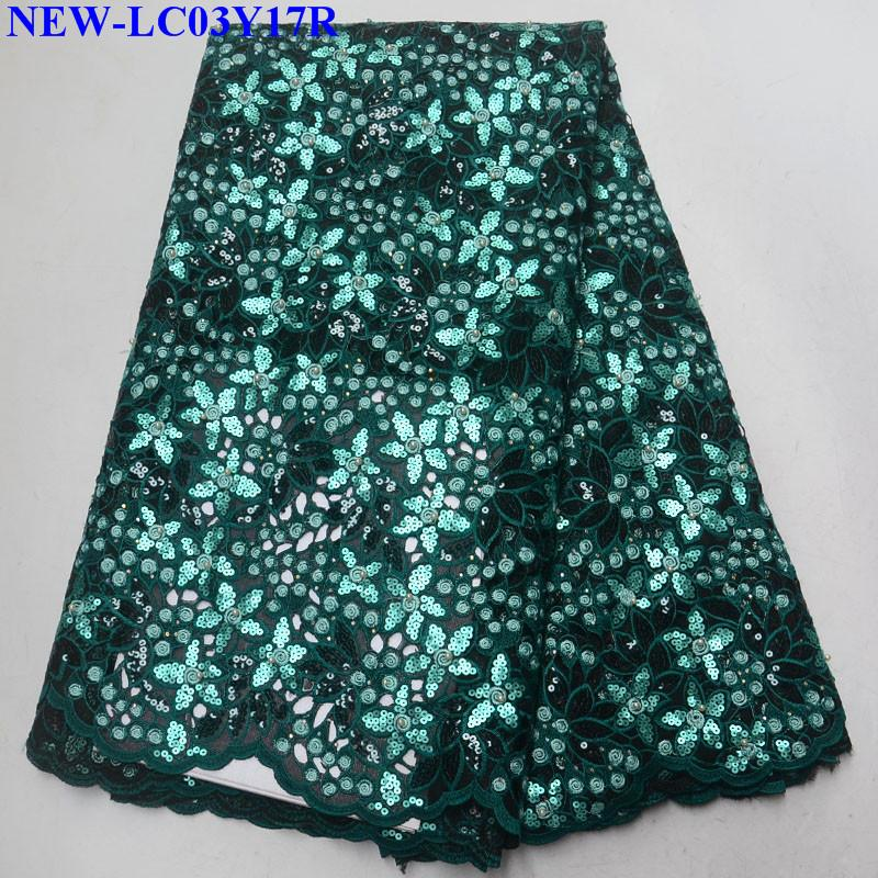 Green African tulle lace fabric with sequins Organza Lace Fabric for women dress high quality French