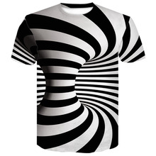 2019 summer Black And White Vertigo Hypnotic Printing T Shirt Unisxe  Funny Short Sleeved Tees Men/women Tops Men's 3D T-shirts