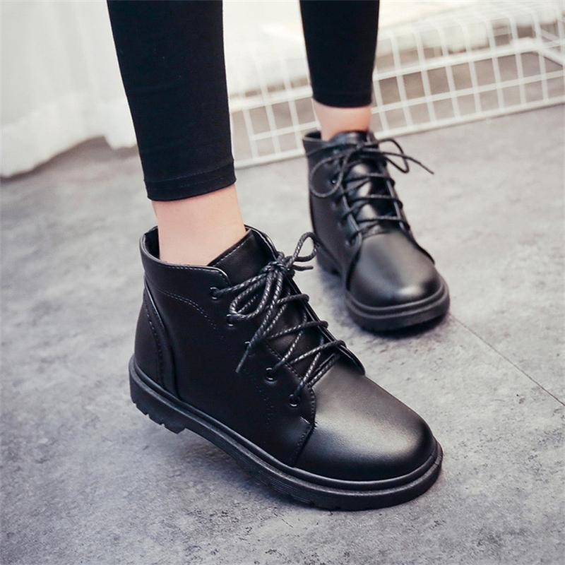 Women Boots 2017 Spring Autumn Fashion Leather Ankle Boots Casual Flats Shoes Woman Outdoor Lace Up Comfortable High Quality spring autumn boots women soft footwear classic boots female comfortable outdoor shoes aa20131