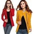 Hot Women Long Sleeve Zipper Suit Coat POLO Neck Solid Casual Suit Jacket Blazer Tops ZT1 B2