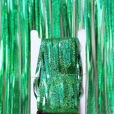2 м 3 м 4 М Металлическая бахрома из фольги мерцающий фон свадебная вечеринка украшение стены фото стенд фон мишура блестящие занавески золото - Цвет: laser green