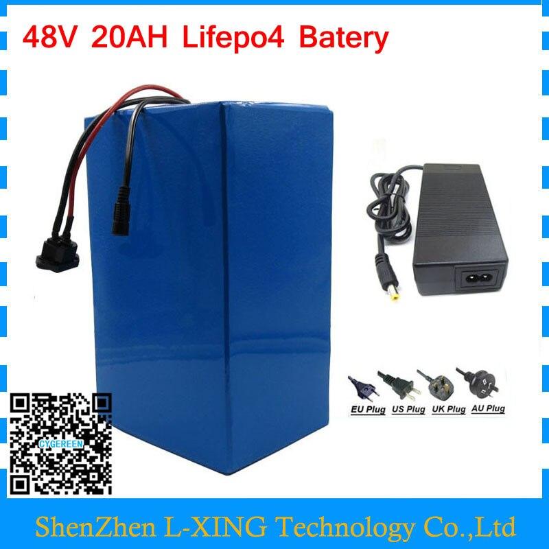 O direito aduaneiro 48 V 1200 W 48 V 20AH 48 V 20AH bateria ebike bateria lifepo4 bicicleta elétrica da bateria com Carregador BMS 58.4 V 2A 30A