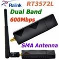 RaLink RT3572 Banda Dual a 600 Mbps Adaptador USB WiFi Adaptador WiFi con sma 5dbi antena wifi externa para samsung tv ventanas 7/8/10