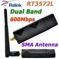 RaLink RT3572 Dual Band Wi-fi 600 Mbps Adaptador USB Adaptador Wi-fi com sma 5dbi antena wi-fi externo para samsung tv janelas 7/8/10