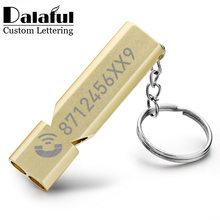 Customized Whistle Keychain Double Pipe High Decibel Outdoor Emergency Survival Engraved Logo Name Anti-lost EDC Keyrings K383(China)