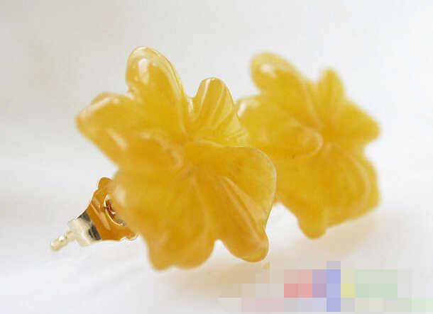 Gorący bubel nowy-wysyłka 12774 Ręcznie rzeźbione kwiat Topaz żółty Jasper stud kolczyk