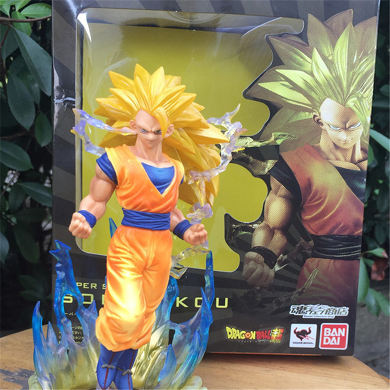 1pc/lot Anime Dragon Ball Z Figuarts Zero Super Saiyan 3 Goku Yellow Hair Son Gokou PVC action figure Cool Model Toys doll 17cm anime dragon ball z son goku action figure super saiyan god blue hair goku 25cm dragonball collectible model toy doll figuras