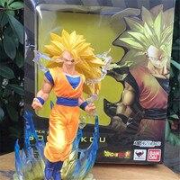 1pc/lot Anime Dragon Ball Z Figuarts Zero Super Saiyan 3 Goku Yellow Hair Son Gokou PVC action figure Cool Model Toys doll 17cm