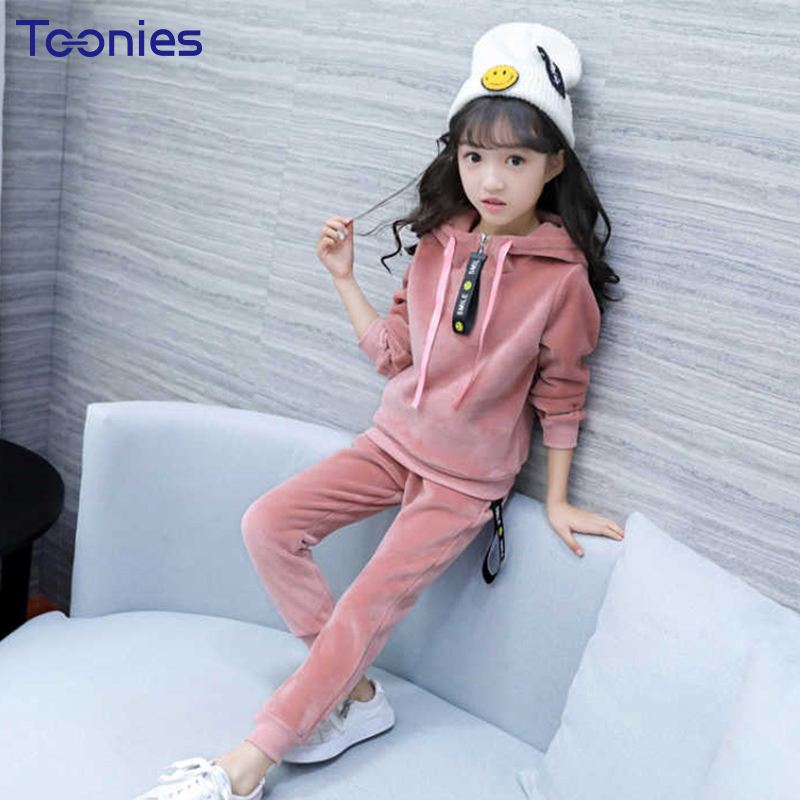 Girls Sportswear Soft Cashmere Girl Pants Suits Winter Thickening Cotton Children Clothes Sets High Quality Kids Clothing Active