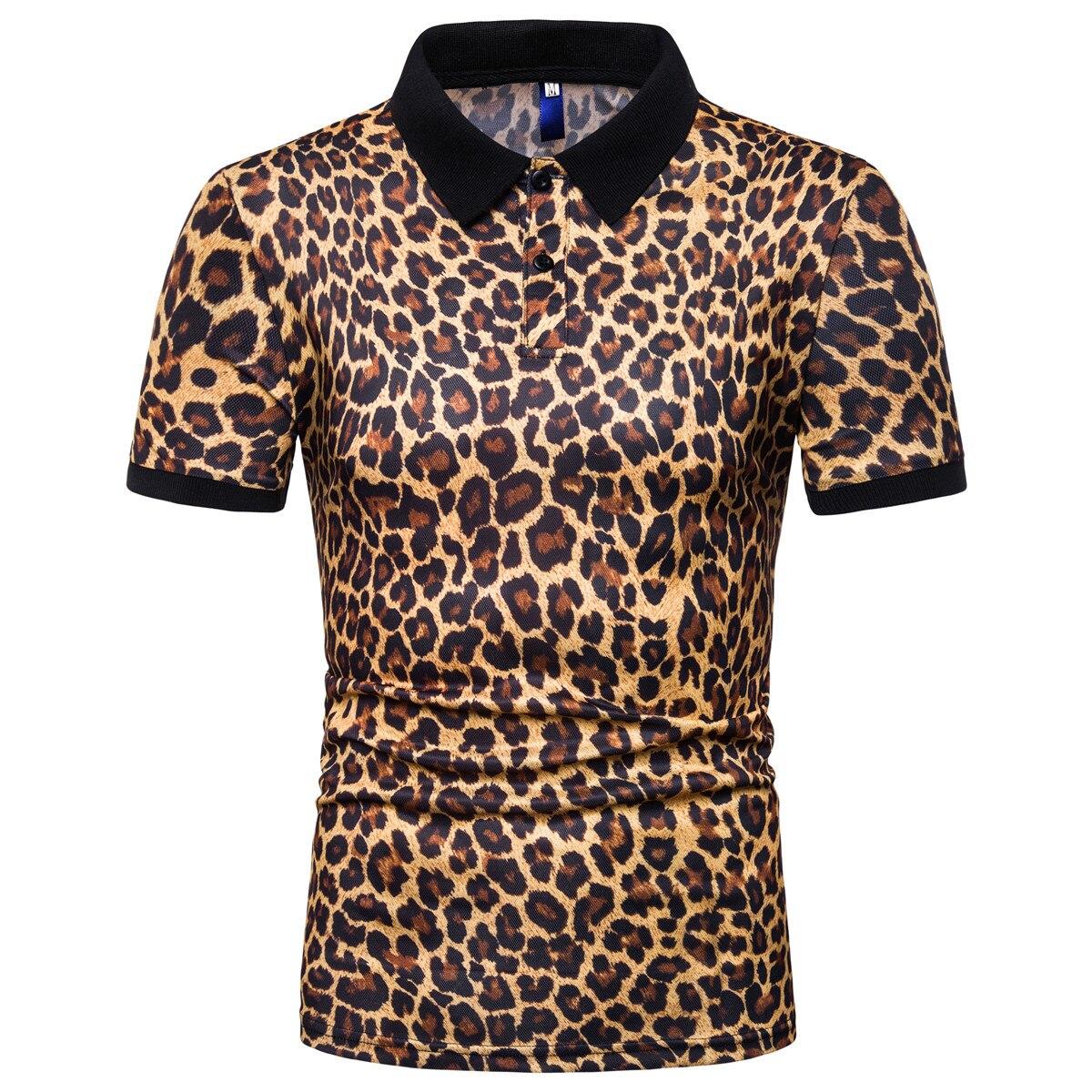 Beautyfine Leopard Print Shirts Für Männer Mode Kurzarm Streifen Große Casual Top Bluse Silm Fit Zahlreich In Vielfalt
