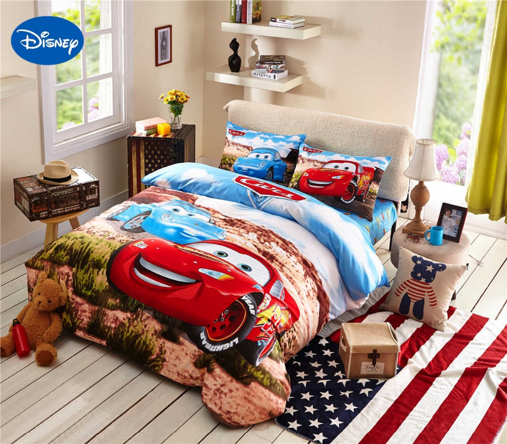 mcqueen cars bedding set cotton bedclothes cartoon disney print bed