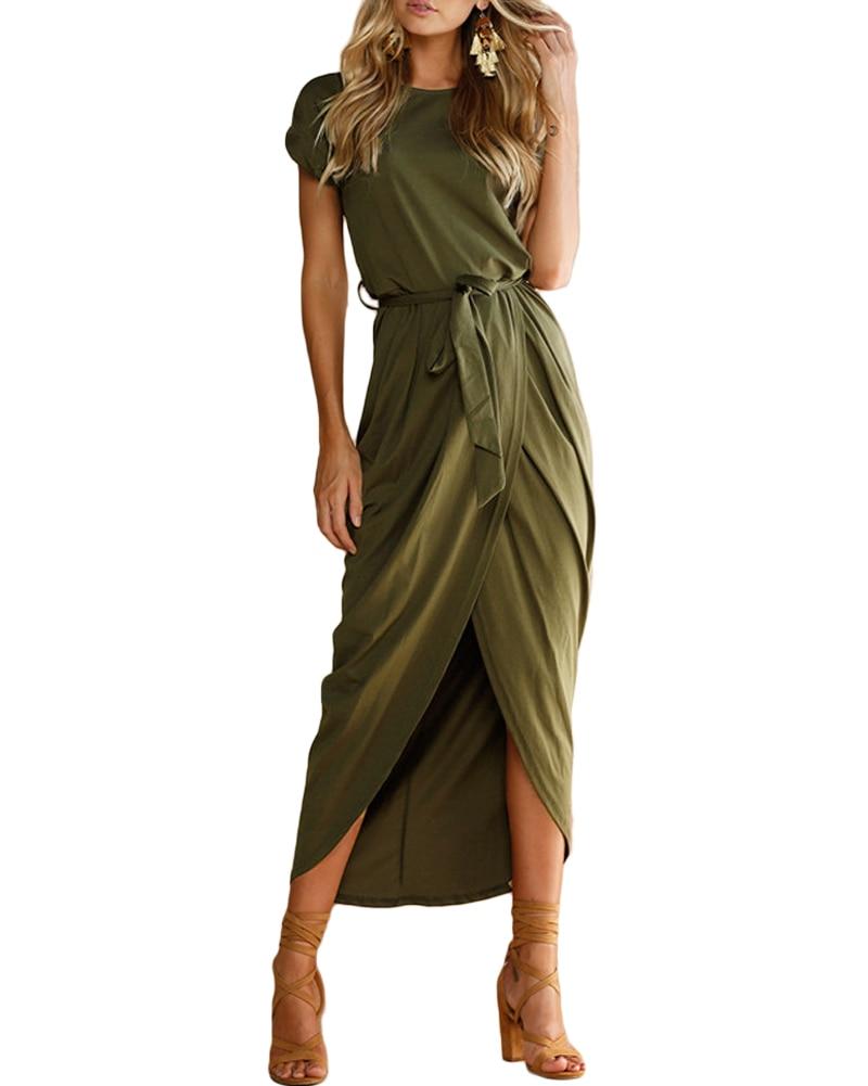 7b5abf993b5 Summer Women Maxi Dress O Neck Short Sleeve Asymmetrical Beach Wrap Dress  Belted Casual Solid Boho
