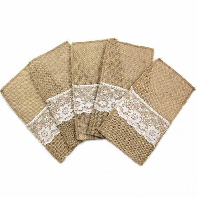 10pcs Vintage 11x21cm Burlap Cutlery Holder Vintage Shabby Jute Lace Tableware Pouch Packaging Fork & Knife Pouch Home Textiles