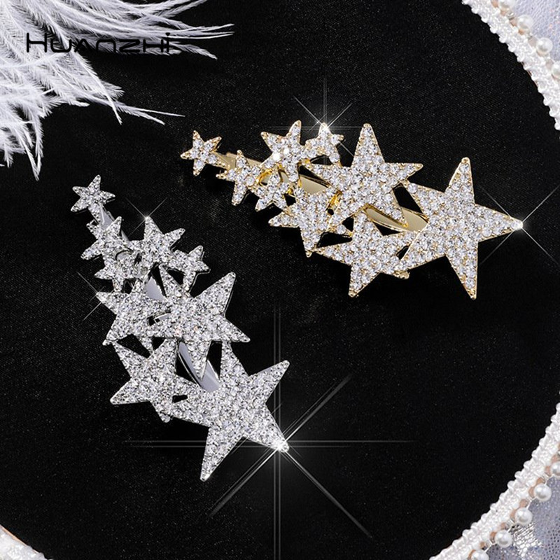 HZ 2019 New Shiny Star Barrettes Rhinestone Hairpins Hair Clip Sweet   Headwear   Hair Grip Hair Accessories For Women Girl Wedding